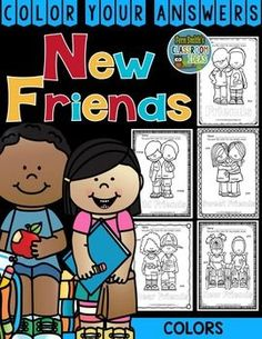 #Colors Know Your Colors New Friends - Color Your Answers Printables for some New Friends Back to School Fun in your classroom! This resource includes: FIVE No Prep Printables that can be used for your math center, small group, RTI pull out, seat work, substitute days or homework, answer keys included too! These high interest black and white printables are great for seat work, homework or small group work. #TPT #FernSmithsClassroomIdeas