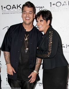 Oh gosh the horror - he's the only sane one. Honest: Kris Jenner has spoken out about how she felt when her son Rob had a health scare - they are pictured here in March 2013