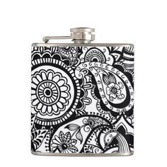 Cute black white floral paisley flask - black and white gifts unique special b&w style