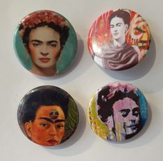 Set of 4 Button Badges. Size: 25 cm (1 inch). Button Badge, Badges, This Is Us, Buttons, Frida Kahlo, Badge, Knots, Lapel Pins, Plugs