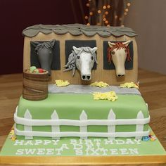 horse cakes | Horse Stables Cake with handmade fondant horses & apple barrel – 2