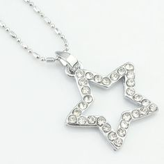 Lapos;argent strass collier pentacle