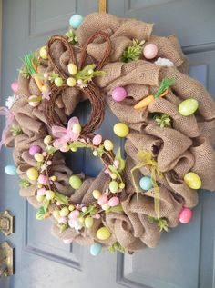 Burlap Easter Wreath Grapevine Bunny Eggs Pastel by RedRobynLane