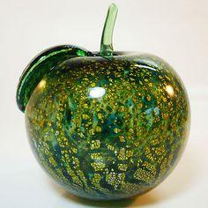 Murano Glas Objekt • Paperweight • Apfel • gesprengte Gold und Silberfolie