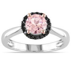 Miadora Sterling Silver Morganite and 1/10ct TDW Black Diamond Ring...This is cute