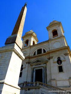 the Obelisco Sallustiano and Trinita dei Monte, Rome, Italy