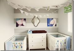 Twins nursery reveal.. <3 (craftionary feature)  small space and accent wall.  like the bunting too.