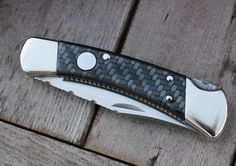 CUSTOM BUCK Folding Hunter Model 110 Double Action Auto  (Works Manually or Automatically)  (Round Button Design), with Polished CARBON FIBER and Full FILE WORK with NICKEL SILVER BOLSTERS!