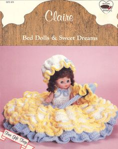 "Vintage Crocheted Dolls -- The vintage 1987 Dumplin Design Doll, Claire is a crochet pattern for a dress, slip, hat, collar, flowers, and gift tags. This 13"" or 14"" doll is delight the young girls in your life or you as a collector.by by NookCove, $4.94"
