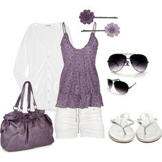 Love the purple and anything that goes with Flip Flops is my style The Purple, Dusty Purple, Cute Summer Outfits, Casual Outfits, Cute Outfits, Fashion Outfits, Womens Fashion, Purple Outfits, Fashion 101