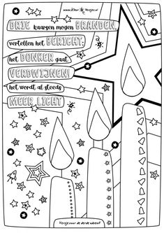 Mooi adventgedicht voor derde advent, veel kleurplezier! Het donker gaat verdwijnen, het wordt al steeds meer licht. Advent Calenders, Bible Crafts, Epiphany, Christmas Time, Back To School, Coloring Pages, Crafts For Kids, Teaching, Infancy