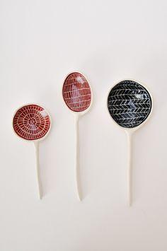 Ceramic Spoon - Etched by Koromiko