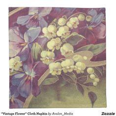 """Vintage Flower"" Cloth Napkin set of 4 by Avalon Media, via Zazzle"