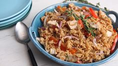 Mediterranean chicken is the perfect dinner to make for families! Heat oil in large skillet over medium-high heat and brown chicken. Stir in remaining ingredients except Knorr® Rice Sides™ - Herb & Butter and simmer covered until chicken is thoroughly cooked, about 30 minutes. Toss together with hot Rice Sides and serve.