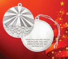 """THE START OF BETHLEHEM Inscription on the back:  """"When they had saw that the star had stopped, they were overwhelmed with joy."""" - Matthew 2:10 This ornament is designed to have a custom message or logo placed in the space above the verse."""