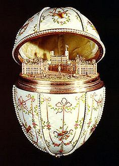 The 'Gatchina Palace' Faberge Egg - made in 1901 for Tzar Nicholas.  The egg opens to reveal a miniature gold replica of the palace at Gatchina (a village 30 miles sw of St Petersburg.)