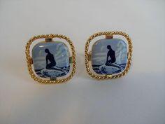 Vintage 1960s Mermaid Cuff Links Porcelain Mens Jewelry  $18  https://www.rubylane.com/item/676693-J17-36/Vintage-1960s-Mermaid-Cuff-Links-Porcelain?search=1