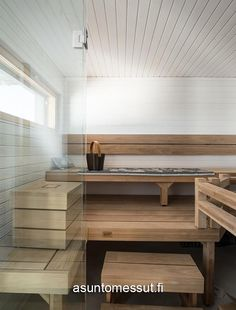 Sauna Wellness, Finnish Sauna, Spa Rooms, Cottage Interiors, Helsinki, Finland, Dining Bench, Inspiration, Furniture