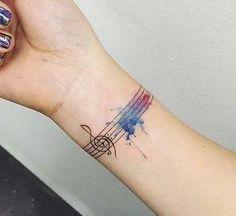 renkli nota bilek dövmeleri bayan watercolor musical note wrist tattoos for women