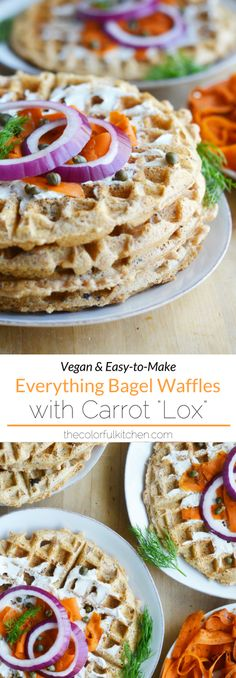 """Vegan Everything Bagel Waffles with Carrot """"Lox""""   Vegan & Easy-to-Make recipe. These savory waffles are a real treat for an easy breakfast, brunch, or fast breakfast-for-dinner! Topped with a schmear of vegan cream cheese, carrot """"lox"""", onion slices, capers and fresh dill, this combination immediately brings me back to the hours I spent in Jewish delis with my grandparents. It's pure, delicious nostalgia on a waffle! #vegan #veganrecipe #easyrecipe"""