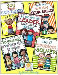 Adorable positive posters.  FREEBIE!  Could be a starting point for students creating their own.