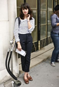 Stripey top, cropped trousers and loafers. Love the fringe and lippy too!