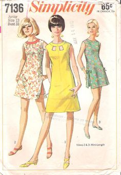 Vintage 1960s Simplicity 7136 Sleeveless Mini Dress with Shorts Sewing Pattern