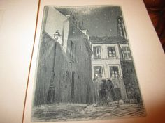 Vintage Edwardian French Small Pen and Ink Etchings