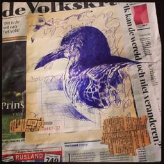 13th August - The Song of the Seagulls #dailydrawing - bic and collage on newspaper