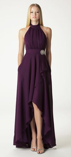 Style 607. Gathered halter bridesmaid dress with built in waistband.  Ariadress.com (Colours: Cherry Blossom, Mint, Bisque)