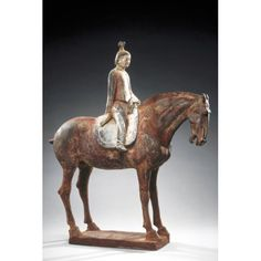 Asian Art Museum Online Collection Horse and rider Place of Origin: China, Shaanxi province or Henan province Date: approx. 650-700 Historical Period: Tang dynasty (618-906) Materials: Low-fired ceramic Dimensions: H. 26 1/2 in x W. 23 1/2 in x D. 10 in, H. 67.3 cm x W. 59.7 cm x D. 25.4 cm Credit Line: The Avery Brundage Collection Department: Chinese Art Collection: Sculpture Object Number: B60P141+ On Display: Yes Location: Gallery 15