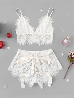 To find out about the Ribbon Tie Eyelash Lace Lingerie Set at SHEIN, part of our latest Sexy Lingerie ready to shop online today! Sexy Lingerie, Lingerie Design, Lingerie Bonita, Jolie Lingerie, Lingerie Outfits, Lace Lingerie Set, Pretty Lingerie, Lingerie Sleepwear, Nightwear