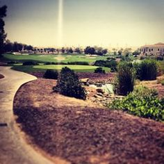 A view down the 16th at Jumeirah Golf Estates in Dubai with a little sun glare #dubai #abudhabi #golf #uaegolf