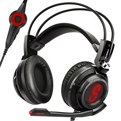 Etekcity H7PX 71 Channel Virtual Surround Sound Scroll Gaming Headset with Mic Over Ear Noise Isolation Pads BlackRed >>> Click image for more details.