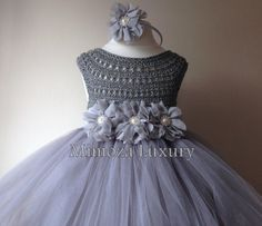Silver Gray Grey Flowergirl dress tutu dress by MimozaLuxury