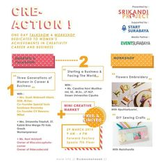 Cre-Action! : One Day Talkshow & Workshop Dedicated to Women's Achievements in Crativity Career and Business Tanggal : Minggu, 29 Maret 2015 Tempat : Forward Factory Lt. 7, Spazio, Surabaya Waktu : 19.00 – 16.00  http://eventsurabaya.net/?event=cre-action-one-day-talkshow-workshop