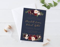 Your place to buy and sell all things handmade Bohemian Wedding Invitations, Printable Wedding Invitations, Wedding Invitation Sets, Invites, Our Wedding, Dream Wedding, Wedding Ideas, Let's Get Married, Navy Gold