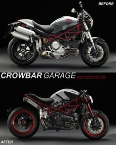 """Ducati Monster """"Pornografica"""" project by Crowbar Garage. Cb400 Cafe Racer, Ducati Cafe Racer, Cafe Racer Bikes, Ducati Desmo, Moto Ducati, Ducati Motorcycles, Ducati Monster S4r, Ducati Monster Custom, Bobber"""