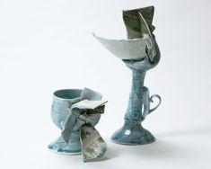 "Ayaka Terajima / 2017 ""The vessel got a flower."" #sculpture #art #ceramic #porcelain #potter #japanese #collage"