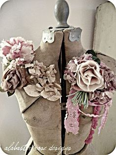 ~vintage dress form with vintage millinery flowers~
