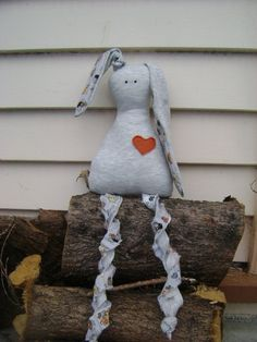 Stuffed Toy Bunny for Kids in Grey with Orange Heart and by oKIDDo, $16.50
