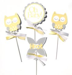 Items similar to Yellow and Grey Woodland Owl Animal Themed Party Centerpiece Sticks Set of 4 - Birthday Party or Baby Shower on Etsy Owl Party Decorations, Party Centerpieces, Party Themes, Owl Animal, Owl Pet, 4th Birthday Parties, Woodland, Baby Shower, Yellow