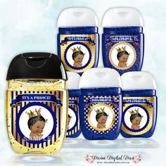 Mini Hand Sanitizer Labels Pocketbac African American Baby Boy Little  Prince Royal Blue U0026 Gold For