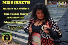 https://flic.kr/p/vfVzUw | Miss Janteh | Máscara contra Cabellera, YUCA vs. MISS JANETH   Miss Janeth nos deja la invitación para este duelo.   Domingo 5 de julio en el Deportivo SME (Calzada del Hueso 381) se presenta la magna función de Leyendas de la Lucha Libre.