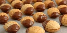 plněné ořechy 300 g hladké mouky 100 g mletých ořechů 80 g mletého cukru 230 g másla 1 žloutek Náplň: 125 g másla 1 žloutek 60 g cukru 150 g mletých ořechů 50 g mletých piškotů rum na dochucení čokoládová poleva