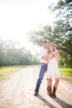 Country Road Engagement Pictures