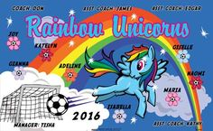 Rainbow Unicorns B52938  digitally printed vinyl soccer sports team banner. Made in the USA and shipped fast by BannersUSA.  You can easily create a similar banner using our Live Designer where you can manipulate ALL of the elements of ANY template.  You can change colors, add/change/remove text and graphics and resize the elements of your design, making it completely your own creation.
