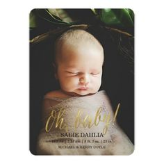 'Oh, baby!' Gold Faux Foil   Birth Announcement