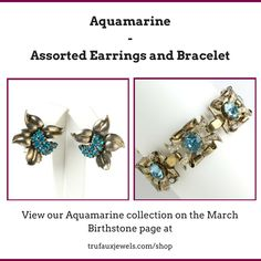 Sometimes, it takes the perfect combination of earrings and bracelet to bring a fresh look to your style.  Here, we have two beautiful pieces from the 1940s: a curled sterling silver leaves adorned with aquamarine rhinestones by Pennino creation from the 1940s, and a Retro Modern design bracelet by Adolph Katz for Coro's high-end line featuring aquamarine-glass-stone centers and diamanté set in gold-plated sterling silver.