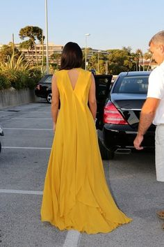 Kim Kardashian in Yellow Elie Saab Dress